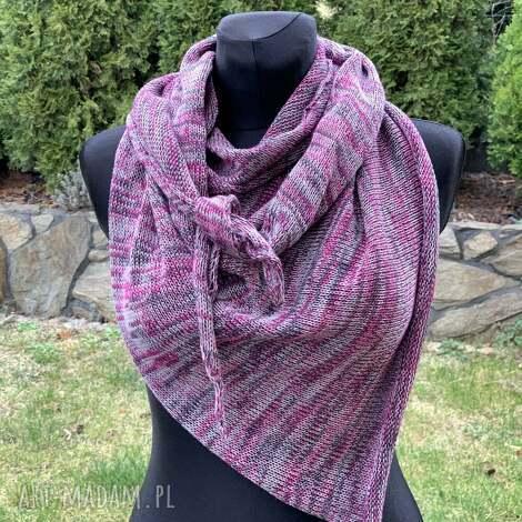 chusta asymetryczna z bawełny melanż, szal, szalik, bawełna