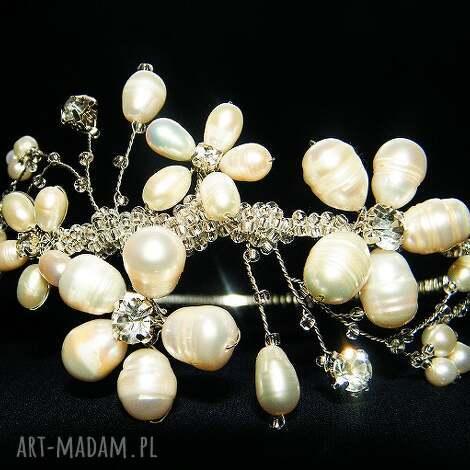 ozdoby do włosów opaska ślubna z pereł naturalnych, ślub, opaska, perły, kryształki