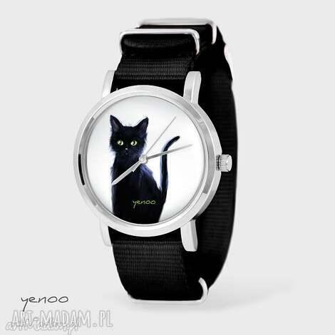 zegarek, bransoletka - czarny kot, biały czarny, nato, bransoletka, nato