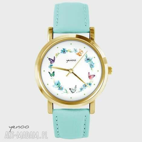 zegarek - kolorowy wianek turkusowy, skórzany, złoty, zegarek, kwiaty, motyle