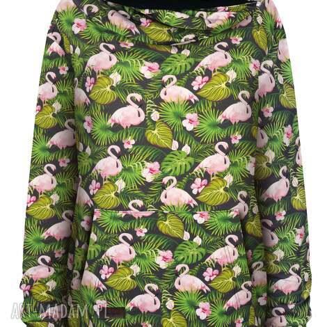 wiosenna obszerna bluza kangurka z mega dużym kapturem w liście i flamingi