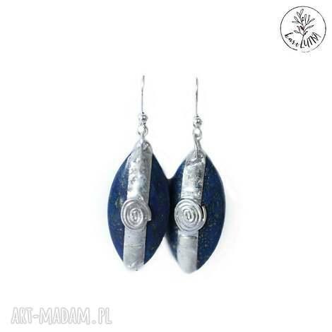 kolczyki lapis lazuli z pirytem, lapis-lazuli, lazuryt, piryt, granatowe, tiffany