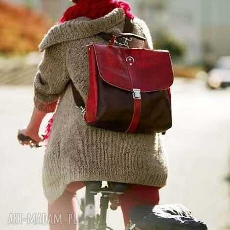 plecak torba skóra czereśniowa, teczka, retro, oldschool, plecak, torba, czereśnia