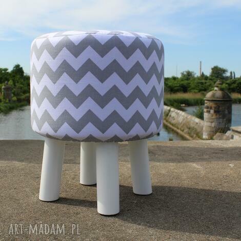 pufa szary zygzak - białe nogi 36 cm, puf, stołek, siedzisko, ryczka, hocker