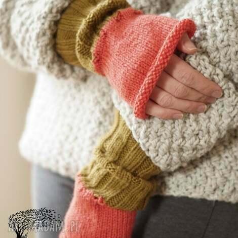 rękawki oliwkowe - rękawki, płaszcz, dziergane, druty