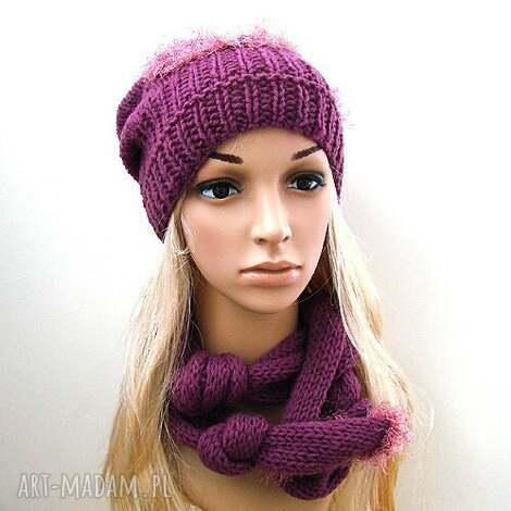komplet fioletowy - czapka i szalik oryginalnie wiązany - komplet, czapka, szalik