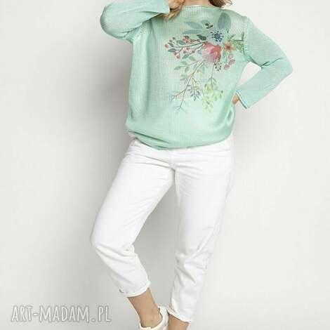 swetry sweter z nadrukiem - swe235 męta mkm, nadrukiem, w kwiaty