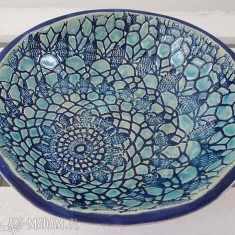 ceramika koronkowa miseczka, miska, ceramiczna, turkusowa, z koronką, dekoracyjna