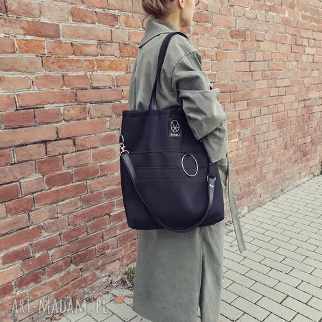czarna torebka na zamek city noise black m, prosta torba