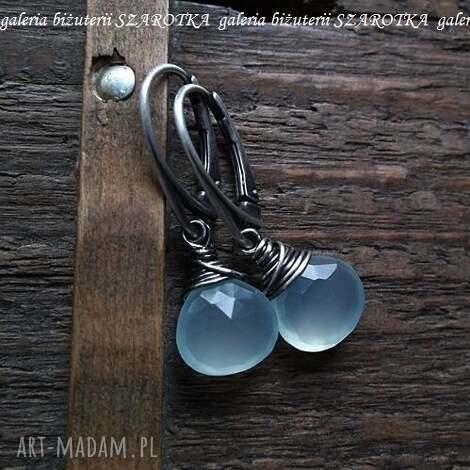 szarotka prywatne oczka wodne kolczyki z chalcedonu i srebra, chalcedon, briolette
