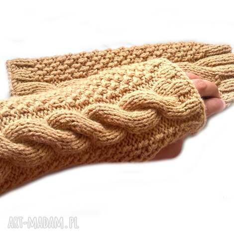 wełniane mitenki - beżowe rękawiczki bez palców z włóczki
