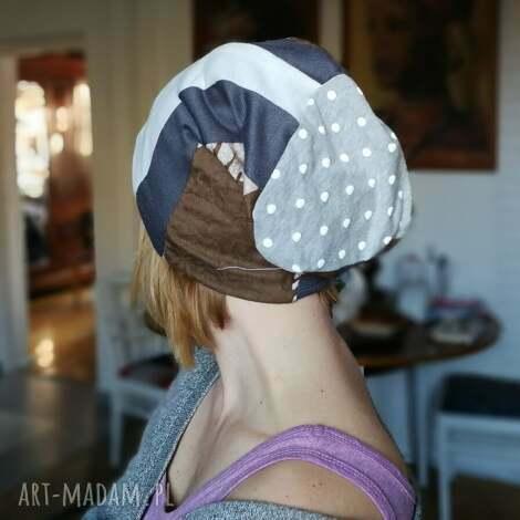 czapka patchworkowa damska etno - czapka, etno, patchwork, boho, duza, kolorowa