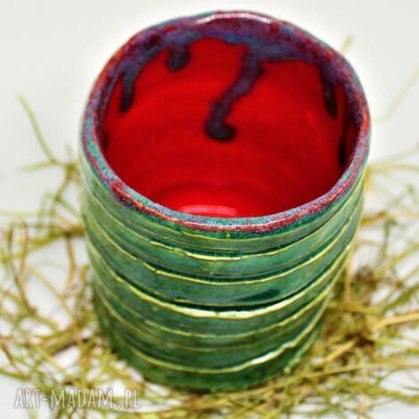 unikatowy wazon ceramiczny wys ok 15 cm handmade, ceramiczny, zielono