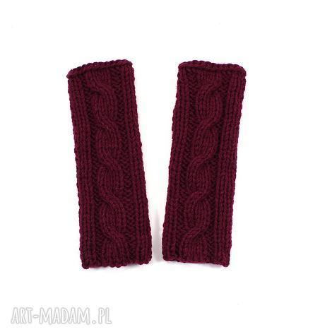 r ekawiczki bez palców mitenki bordowe rękawiczki, warkocz, prezent dziergane