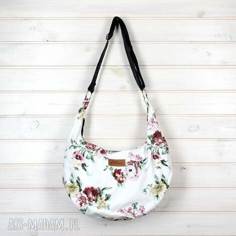 torba listonoszka hobo kwiaty regulowana, torebka, hobo, bawełna, kolorowa