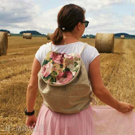 plecak troczek len róże klapka, vegan, plecak, podróż, worek, róże, boho
