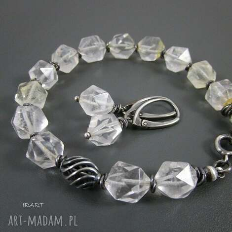 komplet z cytrynu, cytryn, srebro, oksydowane biżuteria