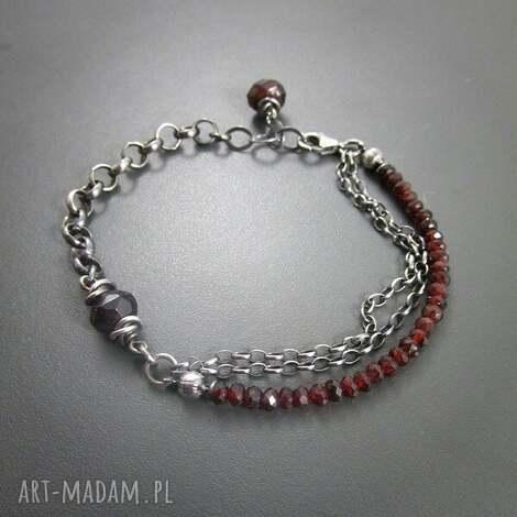 bransoletka z granatu, srebro, oksydowane, prezent, granat biżuteria