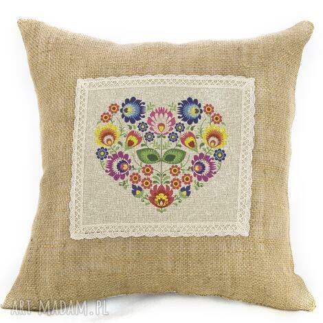poduszki poduszka,, prosto z serca folk na jucie, poduszka, ludowa, dom