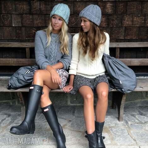 czapki szara czapka handmade, zimowa, minimalizm, basic, prosta, zima, streetwear