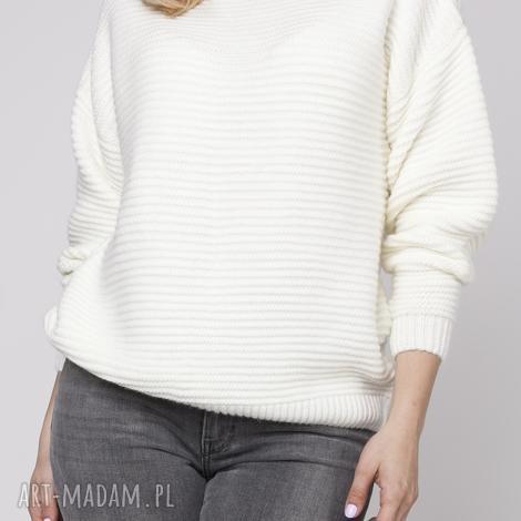 lanti urban fashion oversizeowy sweter z fakturą, swe125 ecru, ciepły, oversize