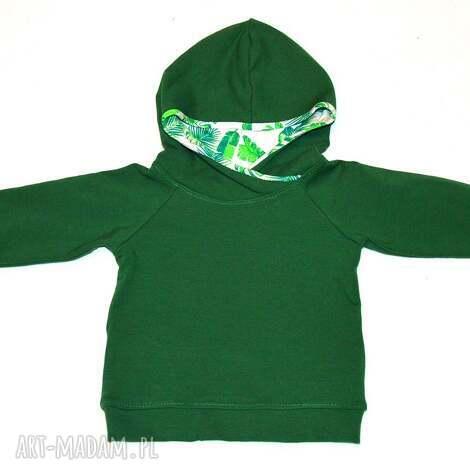 liście zielona bluza dla chłopca, bawełniana z kapturem, rozmiary 74, 86, 92