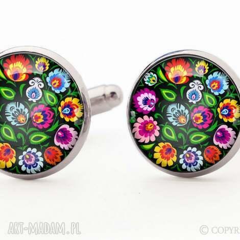 ludowe kwiaty - spinki do mankietów - spinki, mankietów, ludowe, kwiatowe, folk