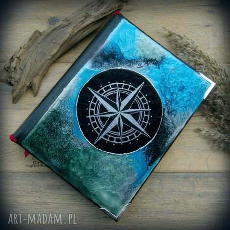 album na zdjęcia z ręcznie malowaną okładką róża wiatrów, album, zdjęcia, pamiątki
