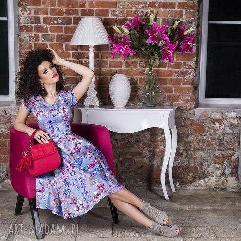 sukienki sukienka nora ii midi , rozkloszowana, kieszenie, kwiaty, koło