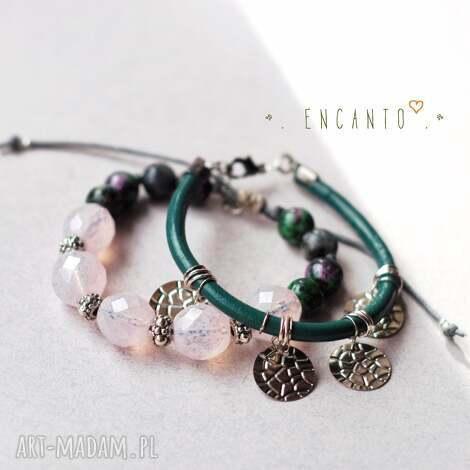 emerald gypsy, skóra, rzemień, zawieszki