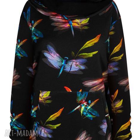 bluzy dresowa bluza z dużym kapturem, unisex, kangurka w ważki