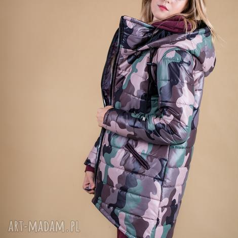 kurtka z odpinanem kapturem zimowa-moro, bluza, sukienka, marynarka, bluzka, spodnie