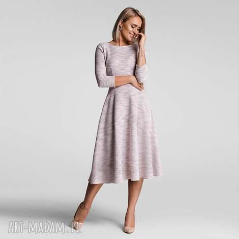sukienka klara 3/4 total midi nikola jasny róż melanż, melanż