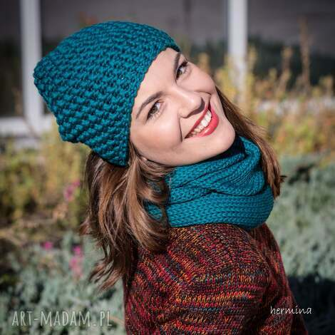 czapka handmade turkusowa - czapka, wełna, morski, robiona-na-drutach
