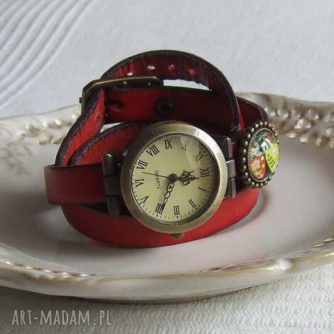 zegarek vintage z grafiką skórzany czerwony, biżuteria, zegarek, bransoletka