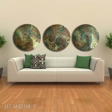 tryptyk geograficzny 18, planeta, kosmos, księżyc, ebru, unikat, święta