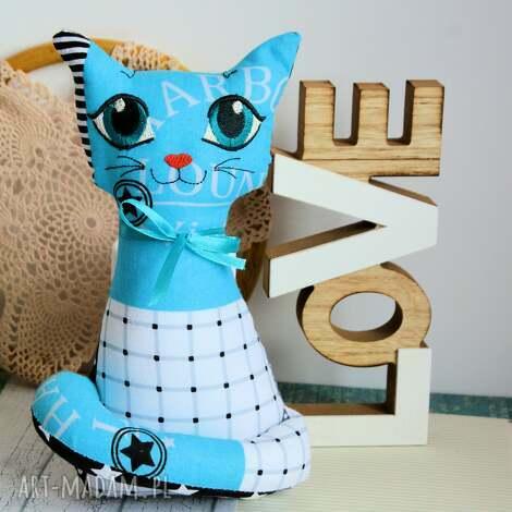 kotek torebkowy - turkusek - 25 cm (zabawka chłopczyk roczek haft, bezpieczny)