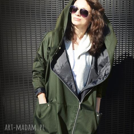 khaki płaszcz oversize ogromny kaptur na jesień rozmiar l - khaki, płaszcz