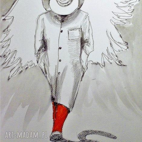 grafika akwarelą i piórkiem kot cieniem anioła artystki plastyka adriany laube