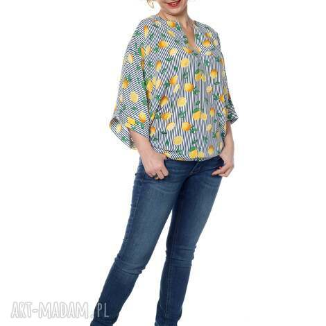 bluzki bluzka kimono, oversize, cytryny, designerska, wiosna, lato, polska