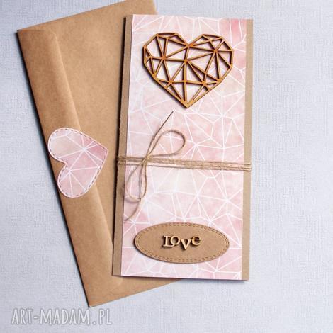 kartki kartka ślubna geometric heart nude, ślub, ślubna, geometryczne serce