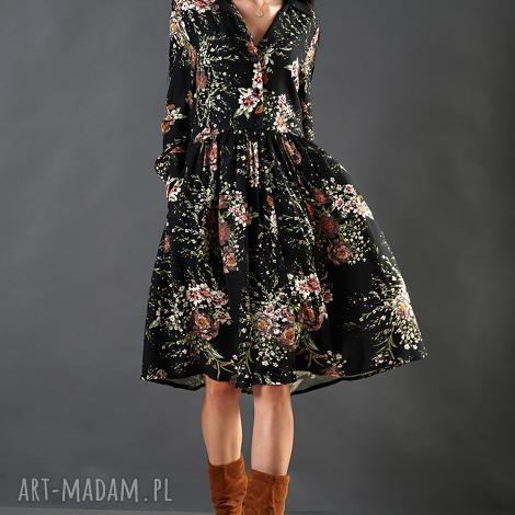 spódnice czarna sukienka w kwiaty paloma, spódnica, midi, wiskoza, rozkloszowana