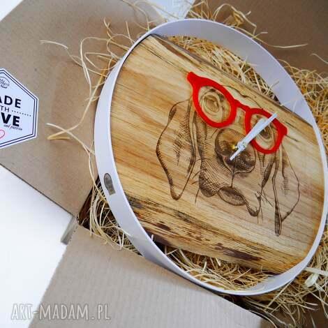 mymetal nest nowość zegar ścienny pies, drewno metal, prezent