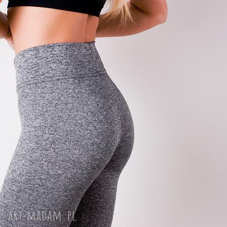 spodnie sportowe damskie szare legginsy z pasem wysoki stan, legginsy