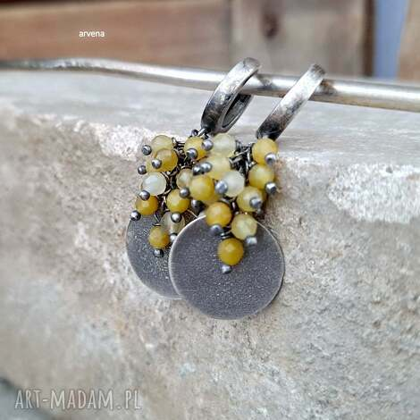 opal żółty - kolczyki 01, żółty, srebro oksydowane, modne
