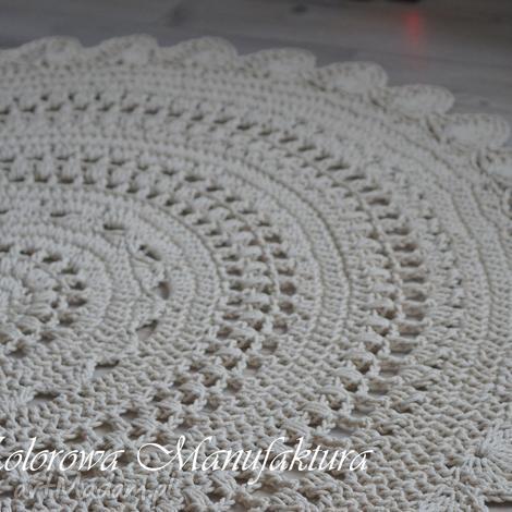 dywan ażur - bawełniany ze sznurka szydełko kolorowa manufaktura 160cm