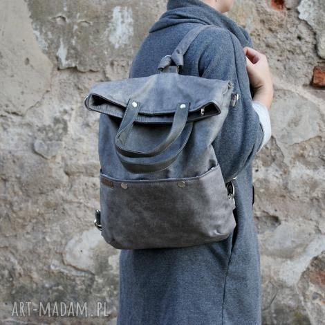 3w1 plecako - torba szary vegan, torba, torebka, plecak, casual, simple