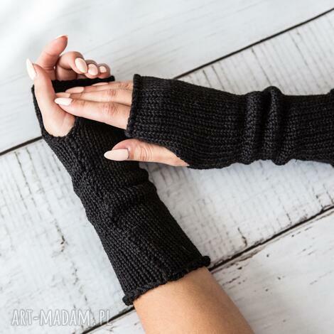 mitenki czarne rękawiczki, wełna, wełniane