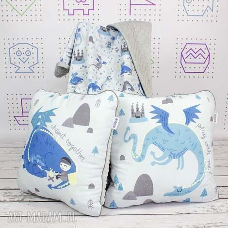 zestaw kocyk i 2 poduszki dragon - kocyk, poduszka, przedszkolak, wyprawka, pokój