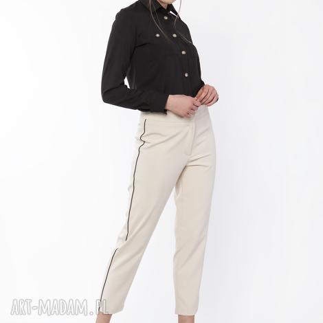 spodnie z ozdobnymi lampasami, sd116 beż, eleganckie, wyjściowe, zwężane